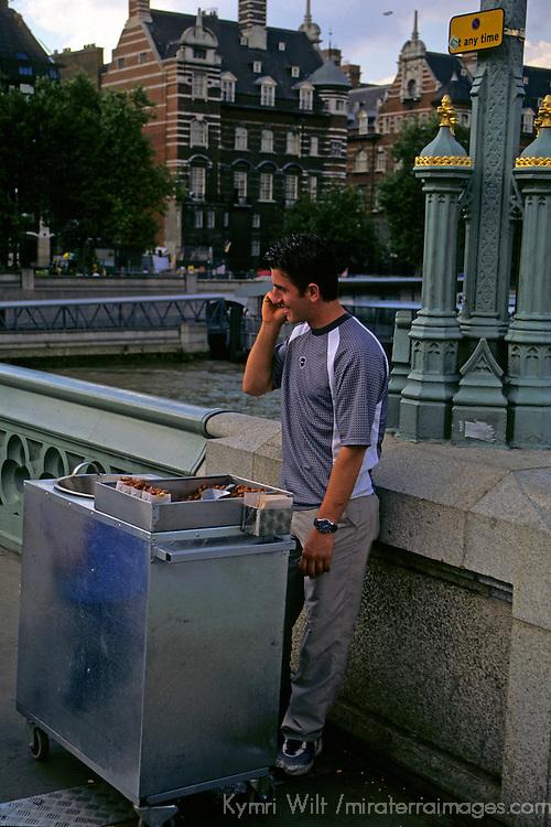 United Kingdom, Great Britain; England; London. A vendor in central London.