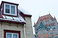 Chateau Frontenac in the Historic District of Old Québec, and UNESCO World Heritage site during winter. Québec, Québec, Canada. January 2012. © Allen McEachern.