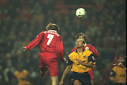 Liverpool, England - Wednesday, November 27th, 1996: Liverpool's Steve McManaman socres the opening goal during the 4-2 victory over Arsenal during the 4th Round of the League Cup at Anfield. (Pic by David Rawcliffe/Propaganda)