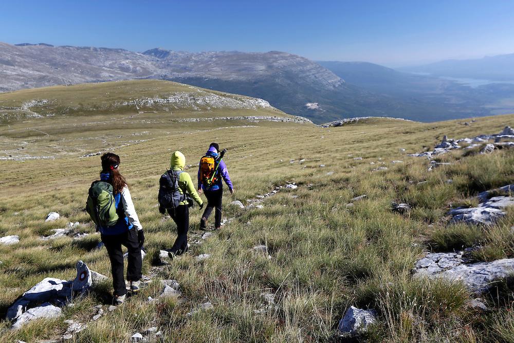 Via Dinarica team on the slopes of Dinara mountain, Croatia.