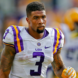 Oct 12, 2013; Baton Rouge, LA, USA; LSU Tigers wide receiver Odell Beckham (3) against the Florida Gators during the first half of a game at Tiger Stadium. Mandatory Credit: Derick E. Hingle-USA TODAY Sports