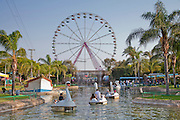 Amusement Park - swan ride in a lake Photographed at the Superland Amusement Park in Rishon LeZion, Israel