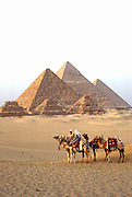 EEGYPT, ANCIENT MONUMENTS Giza Pyramids and camel caravan
