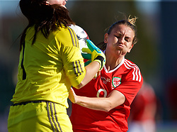 YSTRAD MYNACH, WALES - Wednesday, April 5, 2017: Wales' Kayleigh Green clashes with Northern Ireland's goalkeeper Emma Higgins during the Women's International Friendly match against Northern Ireland at Ystrad Mynach. (Pic by Laura Malkin/Propaganda)