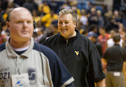 West Virginia Mountaineers head coach Bob Huggins leaves the floor after beating Texas Tech.