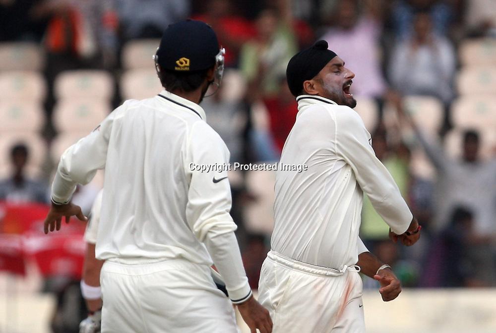 Indian bowler Harbhajan Singh celebrates aftre taken New Zealand batsman Kane Williamson wicket during the Indian vs New Zealand 2nd test match day-5 Played at Rajiv Gandhi International Stadium, Uppal, Hyderabad 16 November 2010 (5-day match)