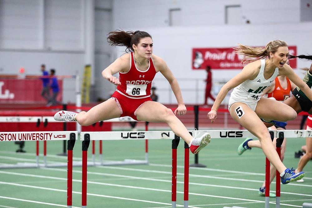 Chiaravalle, Bridget, BU, 60 meter hurdles prelim<br /> Boston University Scarlet and White<br /> Indoor Track & Field, Bruce LeHane