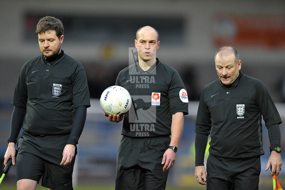 TELFORD COPYRIGHT MIKE SHERIDAN referee Nathanel Cox with linesmen during the Vanarama Conference North fixture between AFC Telford United and Brackley Town at the New Bucks Head on Saturday, January 4, 2020.<br /> <br /> Picture credit: Mike Sheridan/Ultrapress<br /> <br /> MS201920-039