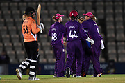 Tash Farrant of Southern Vipers walks off as she is dismissed  by Georgia Elwiss during the Women's Cricket Super League match between Southern Vipers and Loughborough Lightning at the Ageas Bowl, Southampton, United Kingdom on 28 August 2019.