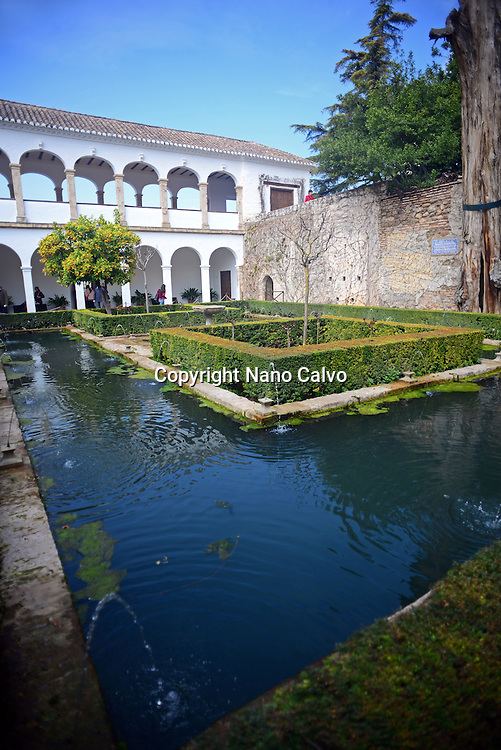 The Gardens of the Generalife in The Alhambra, palace and fortress complex located in Granada, Andalusia, Spain