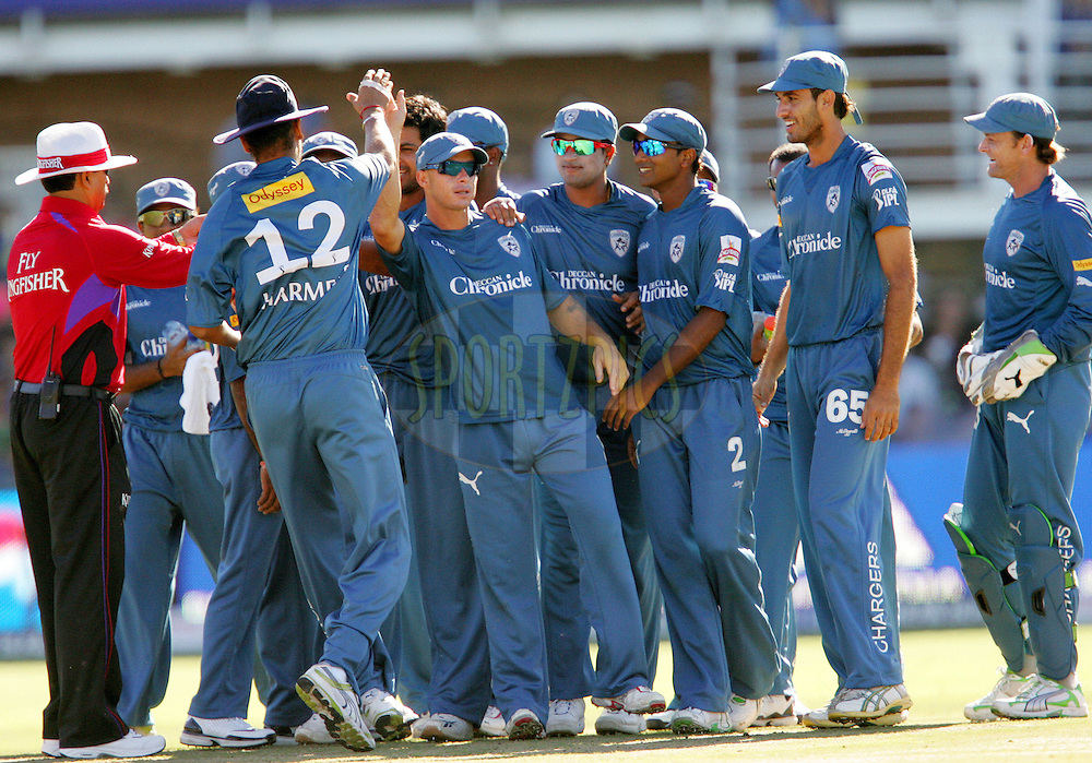 PORT ELIZABETH, SOUTH AFRICA - 02 May 2009. Herschelle Gibbs and the Chargers celebrate the wicket of Naman Ohja during the  IPL Season 2 match between the Deccan Chargers and the Rajatshan Royals held at St Georges Park in Port Elizabeth , South Africa..