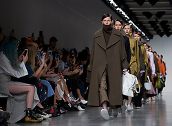 Models on the catwalk during the Eudon Choi Autumn/Winter 2017 London Fashion Week show at BFC Show Space, London.