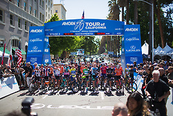 The peloton listens to the National Anthem before Stage 3 of the Amgen Tour of California - a 70 km road race, starting and finishing in Sacramento on May 19, 2018, in California, United States. (Photo by Balint Hamvas/Velofocus.com)