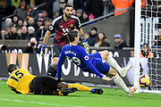 Chelsea Forward Alvaro Morata misses an open goal during the Premier League match between Wolverhampton Wanderers and Chelsea at Molineux, Wolverhampton, England on 5 December 2018.