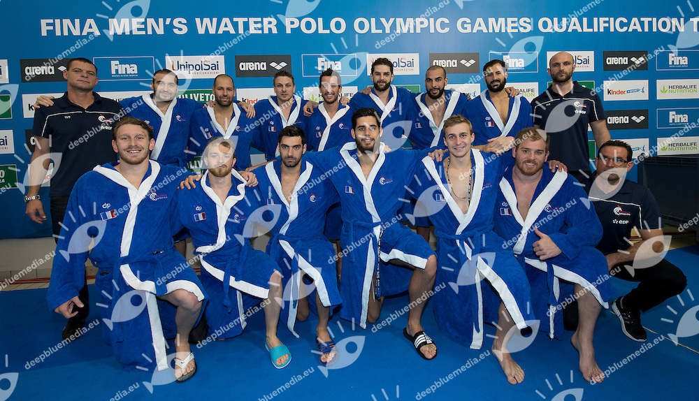 Team France qualified for Olympic<br /> FINA Men's Water polo Olympic Games Qualifications Tournament 2016<br /> Final 3rd place<br /> France FRA (White) Vs Spain ESP (Blue)<br /> Trieste, Italy - Swimming Pool Bruno Bianchi<br /> Day 08  10-04-2016<br /> Photo G.Scala/Insidefoto/Deepbluemedia