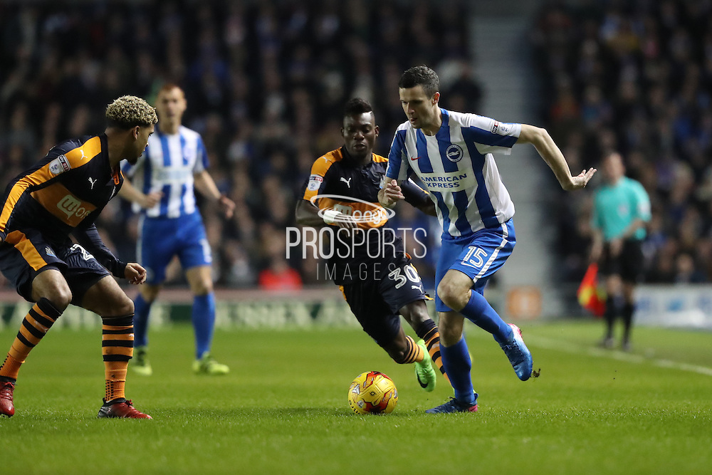 Brighton & Hove Albion winger Jamie Murphy (15) during the EFL Sky Bet Championship match between Brighton and Hove Albion and Newcastle United at the American Express Community Stadium, Brighton and Hove, England on 28 February 2017.