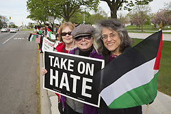 May 3, 2017 - Dearborn, Michigan, U.S. - Dearborn, Michigan USA - 3 May 2017 - Members of Jewish Voice for Peace join with American Muslims for Palestine in a vigil to support 1500 Palestinian political prisoners who are on a hunger strike to protest conditions in Israeli prisons. (Credit Image: © Jim West via ZUMA Wire)