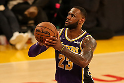 February 27, 2019 - Los Angeles, CA, U.S. - LOS ANGELES, CA - FEBRUARY 27: Los Angeles Lakers Forward LeBron James (23) shoots during second half of the New Orleans Pelicans versus Los Angeles Lakers game on February 27, 2019, at Staples Center in Los Angeles, CA. (Photo by Icon Sportswire) (Credit Image: © Icon Sportswire/Icon SMI via ZUMA Press)