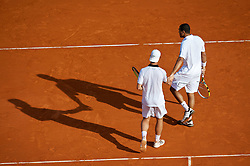 MONTE-CARLO, MONACO - Wednesday, April 14, 2010: Jo-Wilfried Tsonga (FRA) and Richard Gasquet (FRA) during the Men's Doubles 1st Round match on day three of the ATP Masters Series Monte-Carlo at the Monte-Carlo Country Club. (Photo by David Rawcliffe/Propaganda)