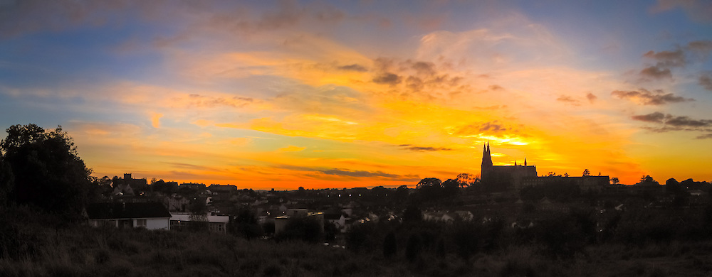 Sunset overlooking the city of Armagh including the Protestant and Roman Catholic St. Patrick Cathedrals.<br /> <br /> This shot was taken on my compact so I'm afraid to say it is only available in a limited range of sizes.