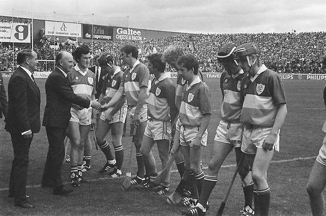 Teams line up before the Galway v Offaly, All Ireland Senior Hurling Championship Final, Croke Park, 1st September 1985.