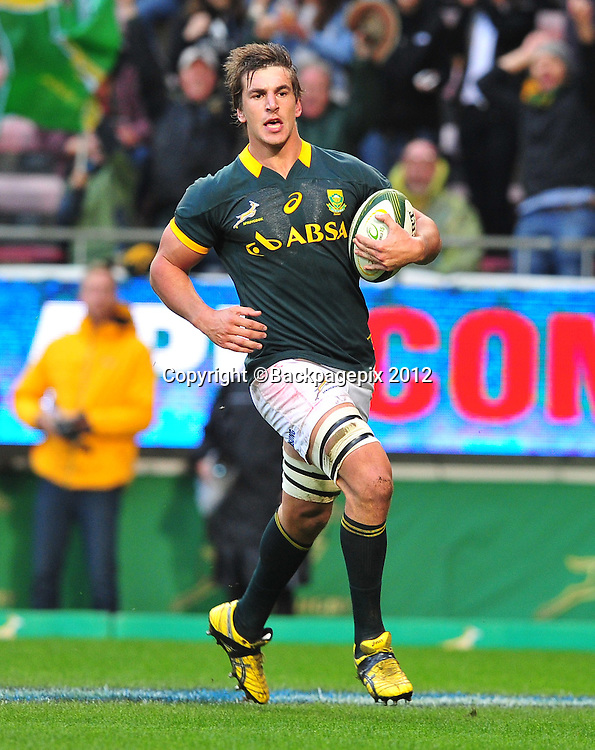 Eben Etzebeth of South Africa scores a try during the international rugby friendly between South Africa v World XV at Newlands Rugby Stadium, Cape Town on 11 July 2015  ©Ryan Wilkisky/BackpagePix