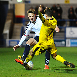 TELFORD COPYRIGHT MIKE SHERIDAN 5/3/2019 - Ryan Barnett of AFC Telford (on loan from Shrewsbury Town Football Club) battles for the ball with Tom Elliott of Darlington during the National League North fixture between AFC Telford United and Darlington at the New Bucks Head Stadium