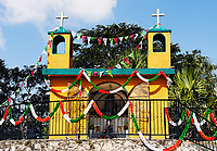 small mexican church in the countryside of the yucatan peninsula