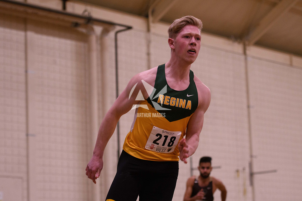 Dawson Bentz in action during the 2018 Canada West Track & Field Championship on February  23 at James Daly Fieldhouse. Credit: Arthur Ward/Arthur Images