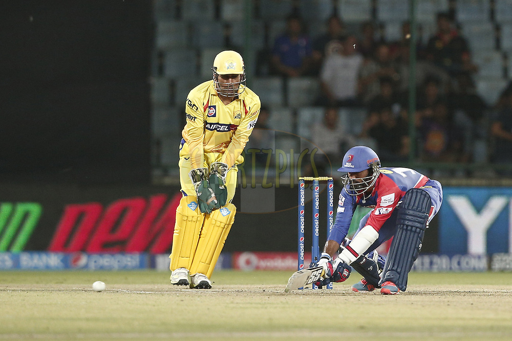 Dinesh Karthik of the Delhi Daredevils during match 26 of the Pepsi Indian Premier League Season 2014 between the Delhi Daredevils and the Chennai Superkings held at the Ferozeshah Kotla cricket stadium, Delhi, India on the 5th May  2014<br /> <br /> Photo by Deepak Malik / IPL / SPORTZPICS<br /> <br /> <br /> <br /> Image use subject to terms and conditions which can be found here:  http://sportzpics.photoshelter.com/gallery/Pepsi-IPL-Image-terms-and-conditions/G00004VW1IVJ.gB0/C0000TScjhBM6ikg