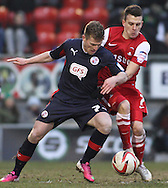 Picture by David Horn/Focus Images Ltd +44 7545 970036.23/02/2013.Dean Cox (right).of Leyton Orient and Billy Clarke (left) of Crawley Town during the npower League 1 match at the Matchroom Stadium, London.