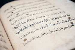 © Licensed to London News Pictures. 02/10/2015. London, UK. A monumental illuminated Qur'an, Egypt, Mamluk, second half 14th century (est. £80k - 120k) on display at the preview of Indian and Islamic Art Week at Sotheby's which runs from 2 to 7 October.  Photo credit : Stephen Chung/LNP