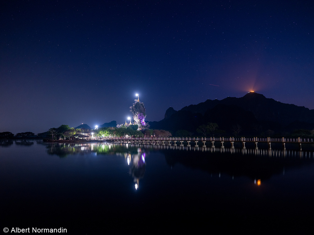Kyauk Ka Lat Pagoda and Zwe Kabin Mountain, Hpa-an, Myanmar