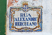SILVES, PORTUGAL - JULY 18, 2006: Exterior of the azulejo street name sign in Silves, Portugal. Hand painted tiles (Azulejo) is a traditional art and craft in Portugal.