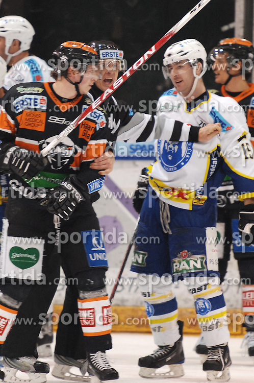 25.02.2010, Eisstadion Liebenau, Graz, AUT, EBEL, Graz 99ers vs KHL Zagreb, im Bild Victor Lindgren (7, 99ers), Andy Sertich (15, KHL Zagreb), EXPA Pictures © 2010, PhotoCredit: EXPA/ J. Hinterleitner / SPORTIDA PHOTO AGENCY.