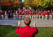 Members of the Penn Band serenade the quadrangle dormitories at the University of Pennsylvania as part of the 2017 Homecoming festivities on November 4, 2017.