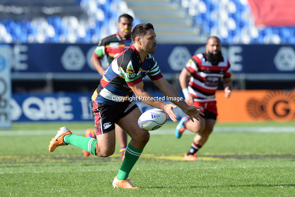 North Harbour's Daniel Halangahu fails to catch the ball during the ITM Cup match between North Harbour and Counties Manukau. QBE Stadium, Auckland, New Zealand. Saturday 12 September 2015. Copyright Photo: Raghavan Venugopal / www.photosport.nz