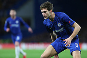 Chelsea defender Marcos Alonso in action during the Champions League match between Chelsea and Bayern Munich at Stamford Bridge, London, England on 25 February 2020.