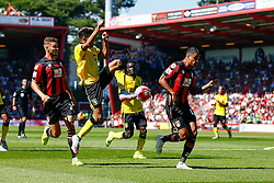Jordan Amavi of Aston Villa high kick intercepts the ball - Mandatory by-line: Jason Brown/JMP - Mobile 07966 386802 08/08/2015 - FOOTBALL - Bournemouth, Vitality Stadium - AFC Bournemouth v Aston Villa - Barclays Premier League - Season opener