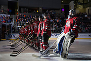 Lincoln Stars goaltender Peyton Jones is introduced at the start of the USHL/NHL Top Prospects Game at the Ralston Arena on Tuesday, Jan. 12, 2016, in Omaha.