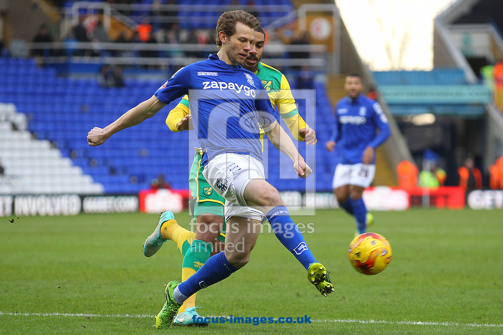 Jonathan Spector of Birmingham and Lewis Grabban of Norwich in action during the Sky Bet Championship match at St Andrews, Birmingham<br /> Picture by Paul Chesterton/Focus Images Ltd +44 7904 640267<br /> 31/01/2015