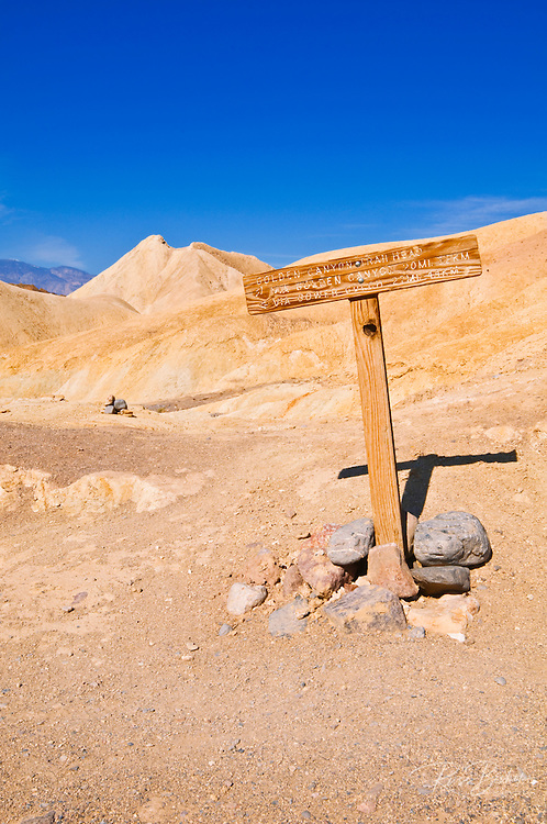 Trail sign in Golden Canyon, Death Valley National Park. California
