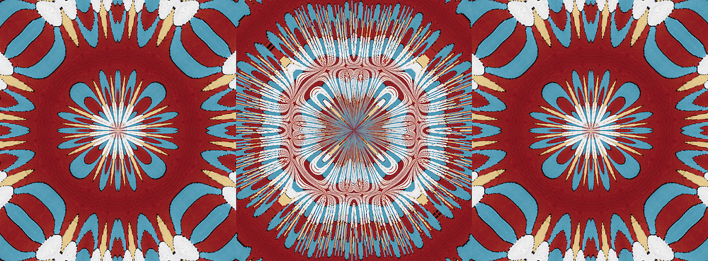 Three computer enhanced kaleidoscope images of shapes and colors, red, blue and white zooming to center point.