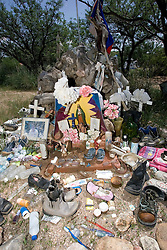 A collection of articles discarded by migrants along the trails was gathered by the volunteers of No More Deaths and brought back to their camp.