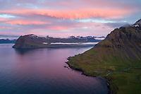 Sunset in Mjóifjörður, East fiords of Iceland.
