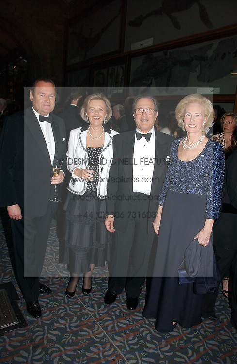 Left to right, MR JOHAN BECKMAN, BARON & BARONESS JEAN-LOUIS DE GUNZBURG and ELIANE DE GUNZBURG BECKMAN Lady in Waiting to The Queen of Sweden at a gala dinner in the presence of HM Quenn Silvia of Sweden and HM Queen Noor of Jordan in aid of the charity Mentor held at the Natural History Museum, Cromwell Road, London on 23rd May 2006.<br />