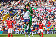 England forward Raheem Sterling (Manchester City) and Switzerland goalkeeper Yann Sommer (1) clash in the air during the UEFA Nations League 3rd place play-off match between Switzerland and England at Estadio D. Afonso Henriques, Guimaraes, Portugal on 9 June 2019.