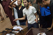 Libyans mourn sniper victims during the funeral in the area of Gorji in Tripoli.