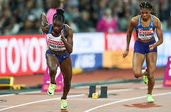 London, August 11 2017 . Dina Asher-Smith, Great Britain, explodes from the starting blocks in the  women's 200m final on day eight of the IAAF London 2017 world Championships at the London Stadium. © Paul Davey.