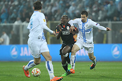 27.11.2014, Stadium Kantrida, Rijeka, CRO, UEFA EL, HNK Rijeka vs FC Standard Liege, Gruppe G, im Bild Paul-Jose Mpoku, Matej Mitrovic // during the UEFA Europa Lduring the UEFA Europa League group G match between HNK Rijeka and FC Standard Liege at the Stadium Kantrida in Rijeka, Croatia on 2014/11/27. EXPA Pictures © 2014, PhotoCredit: EXPA/ Pixsell/ Nel Pavletic<br /> <br /> *****ATTENTION - for AUT, SLO, SUI, SWE, ITA, FRA only*****